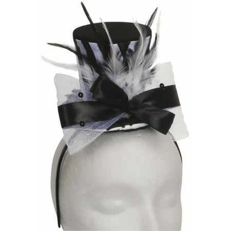 Halloween Steampunk Fancy Mini Top Hat Headband, Black White, One Size
