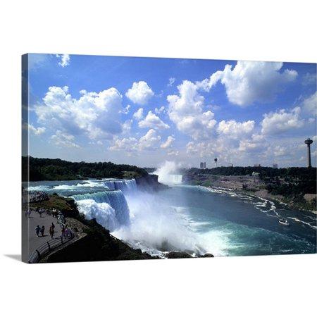 Great BIG Canvas Bill Bachmann Premium Thick-Wrap Canvas entitled Looking back at the USA horseshoe falls in Niagara Falls Ontario Canada