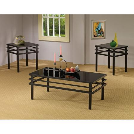 Coaster Furniture 3 Piece Glass Top Coffee Table Set - Black