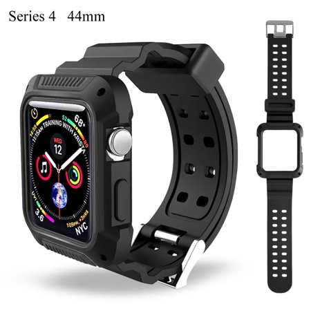 IClover Case and Band Compatible with Apple Watch Series 4 [44mm], Silicone Replacement Strap with Ventilation Holes and Shock Resistant Bumper Cover Replacement for Apple Watch, Series 4 Black