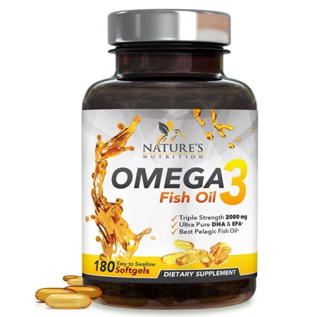 Nature's Nutrition Omega 3 Fish Oil Pills, 2000mg, 180 Ct