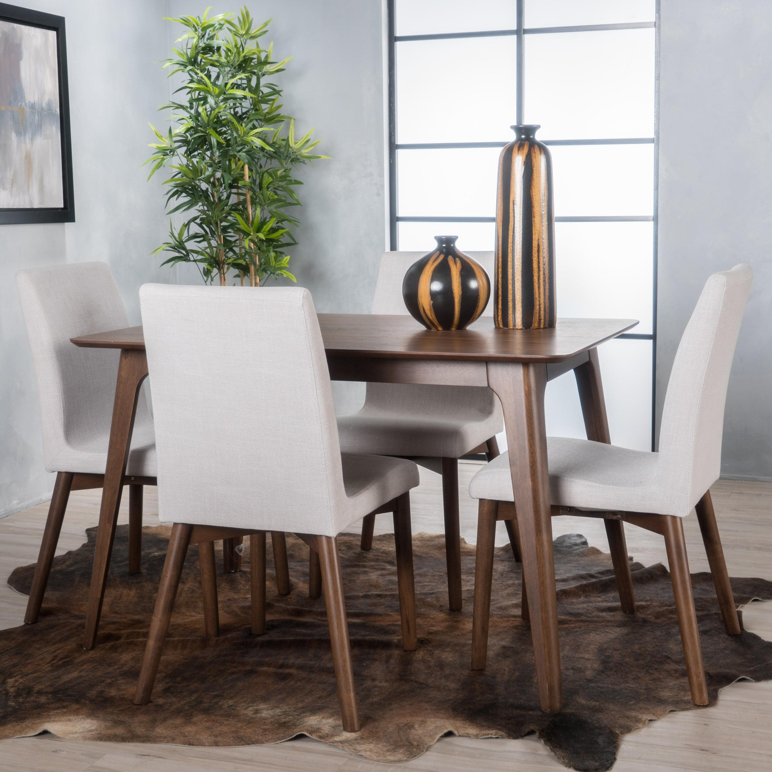 Noble House Keaton Natural Walnut Wood Light Beige Rectangular 5 Piece Dining Set