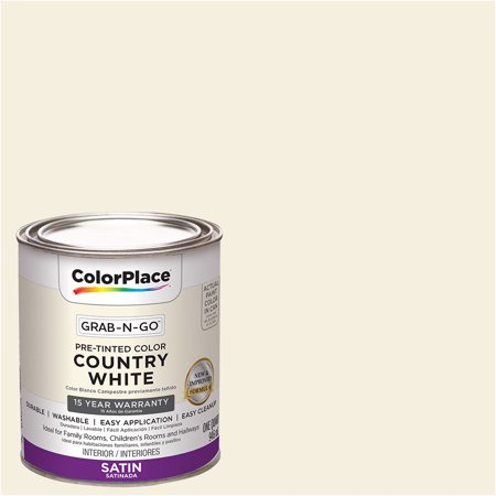 ColorPlace Grab-N-Go, Interior Paint, Satin Finish, Country White, 1 Quart