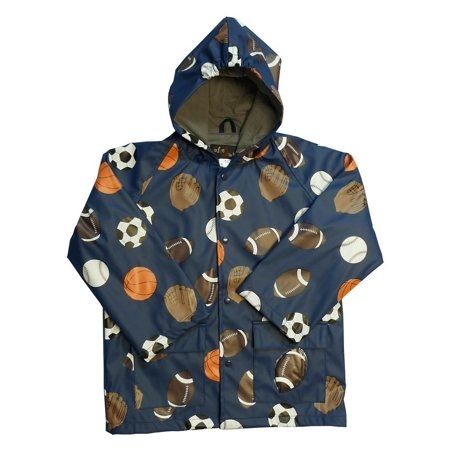 Boys Navy Sports Balls Rain Coat 8 (Classic Rainsuit)