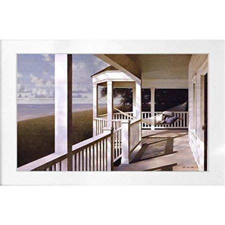 Framed Sunlit Hammock By Zhen Haun Lu 32X20 Art Print Poster Wall Decor Coastal Porch Cottage Seacoast