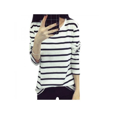 Womens Autumn Long Sleeve Casual Striped Blouse Cotton