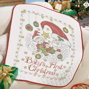 Baby by Herrschners® Pre-Quilted Baby's First Christmas Baby Quilt Stamped Cross-Stitch Kit