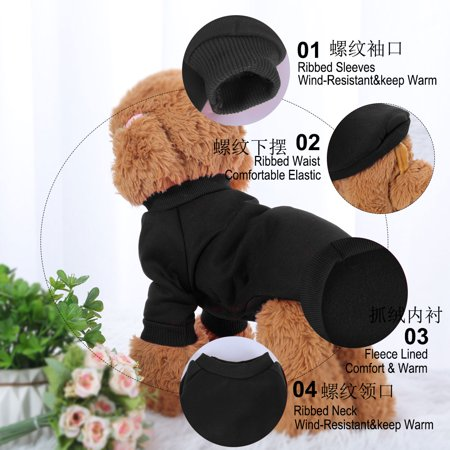 Cotton Blend Dog Winter Sweatshirt Pet Clothes Fleece Lined Warm Coat Black M - image 6 of 7