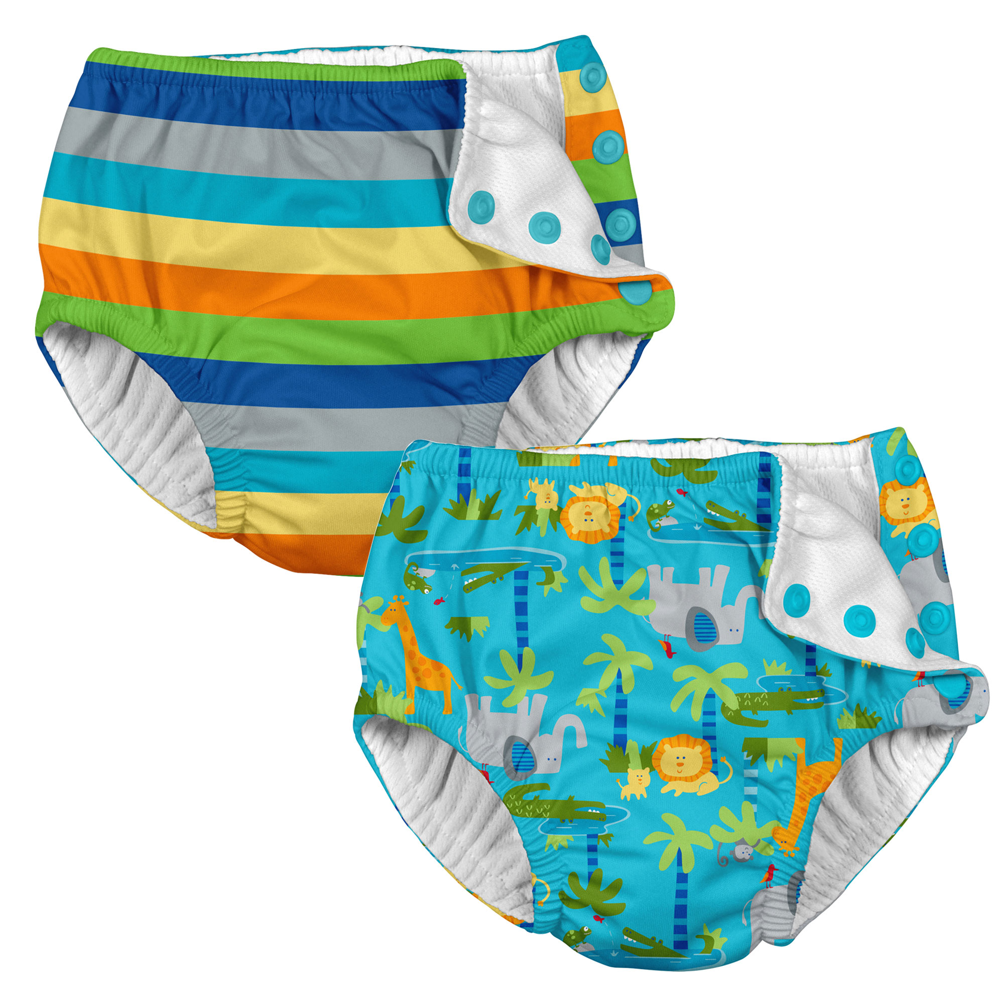 i play Baby and Toddler Snap Reusable Swim Diaper - Stripes and Aqua Jungle - 2 Pack