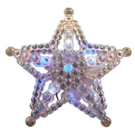 """7.5"""" LED Lighted Color Changing Beaded Star Christmas Tree Topper - Multi Lights"""