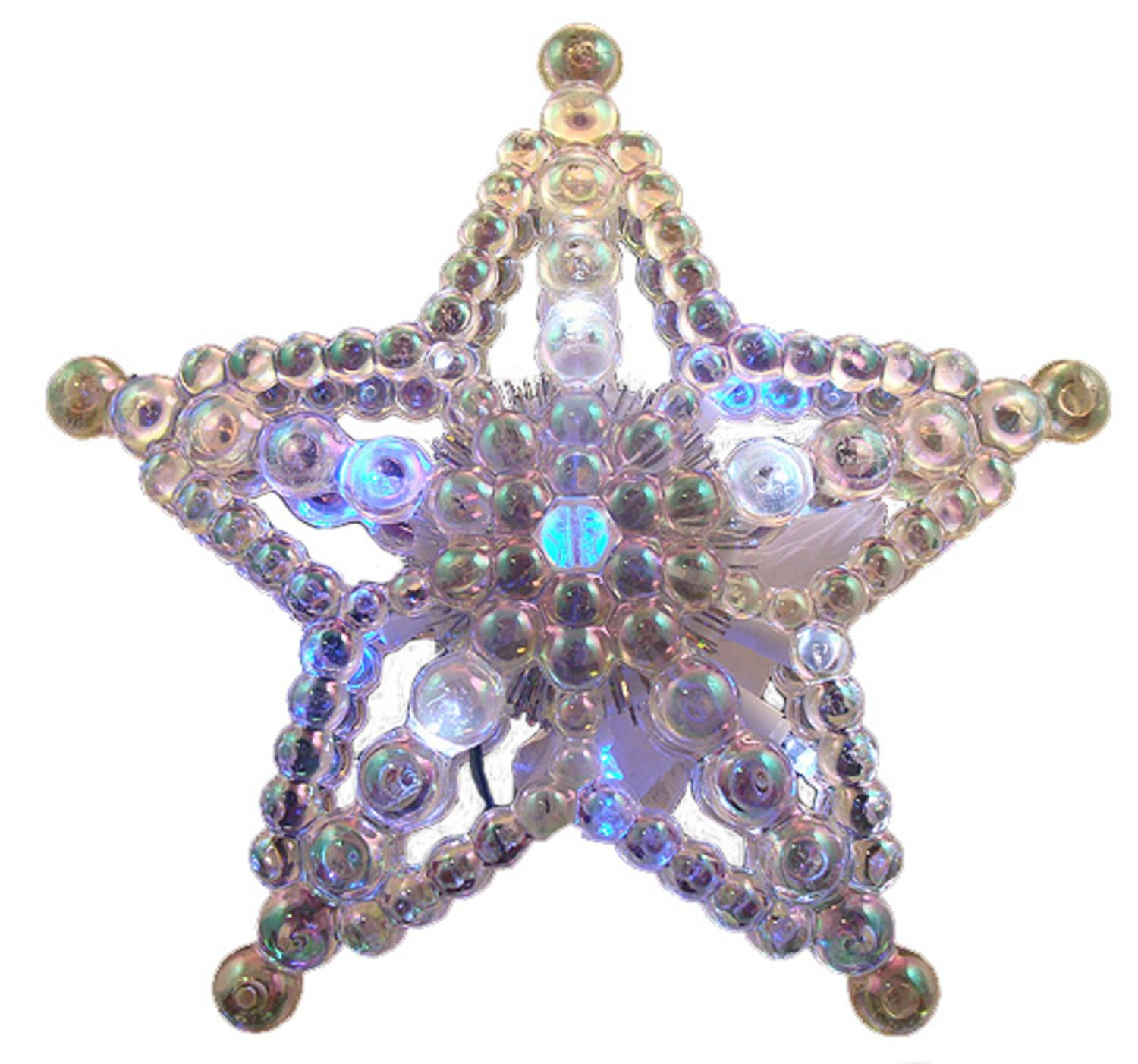 "7.5"" LED Lighted Color Changing Beaded Star Christmas Tree Topper - Multi Lights"