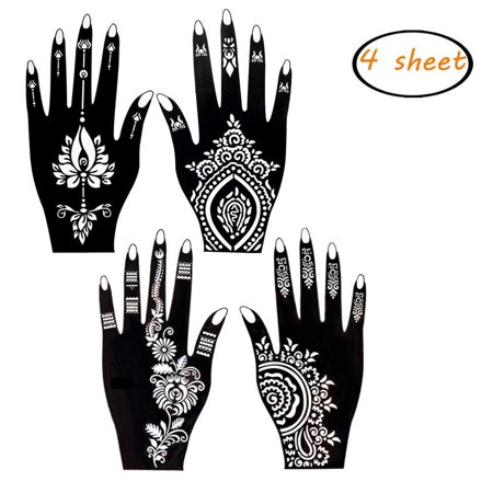 4 Sheets Henna Tattoo Stencil Self Adhesive Beautiful Body Art Hands Paint Designs Template for Temporary Indian Henna Tattoo 4 Stencil
