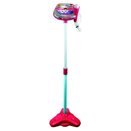 Rockin' Star Karaoke Children's Kid's Toy Stand Up Microphone Playset w/ Built In MP3 Jack, Speaker (Pink) - Rock Star Microphone