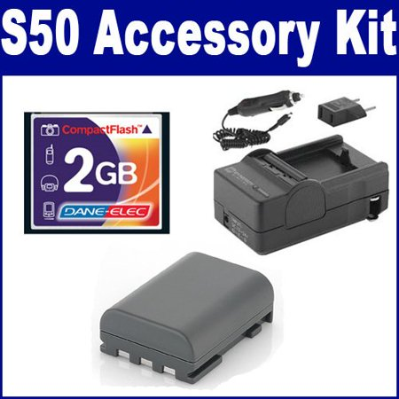 Canon Powershot S50 Digital Camera Accessory Kit includes: T44654 Memory Card, SDM-118 Charger, SDNB2LH Battery