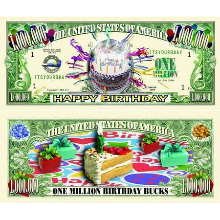 "(Happy Birthday Million Dollar Bill with Bonus ""Thanks a Million"" Gift Card Set and Clear Protector)"