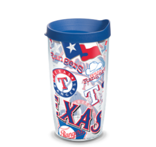 MLB Texas Rangers All Over 16 oz Tumbler with lid