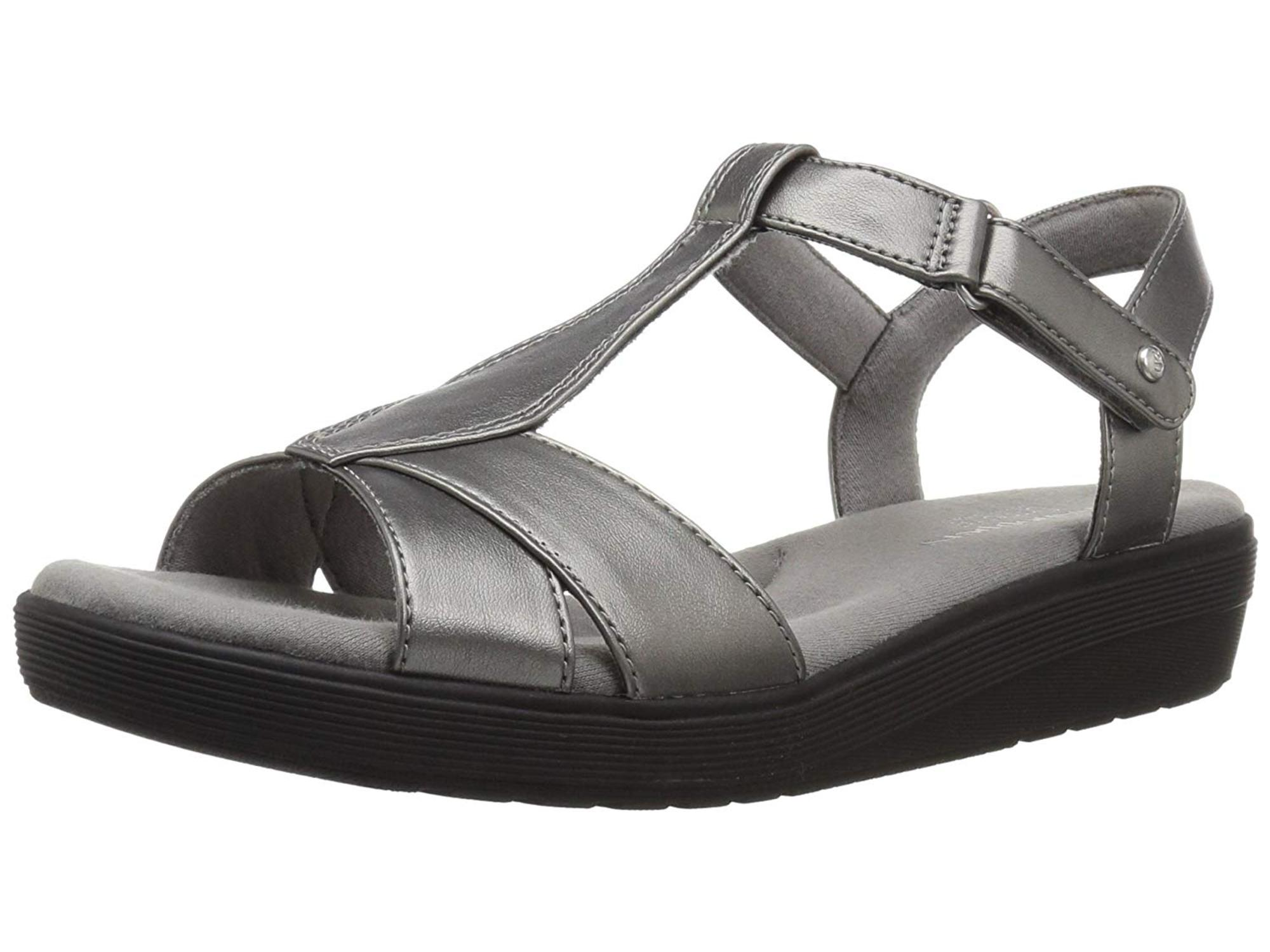 Grasshoppers Womens Clover Stripe Stone Open Toe Casual T-Strap Sandals by Grasshoppers