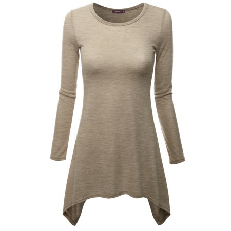 c351d16257b Doublju - Doublju Women s Tunic Tops for Leggings Long Sleeve Shirt  HEATHERBEIGE 4XL Plus Size - Walmart.com