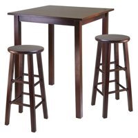 "Parkland 3-Pc High Table with 29"" Square Leg Stools Walnut"