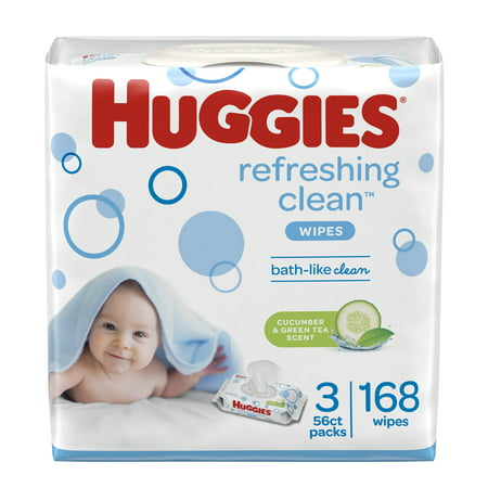 HUGGIES Refreshing Clean Baby Wipes, Disposable Soft Pack (3-Pack, 168 Sheets Total), Scented, Alcohol-free, Hypoallergenic
