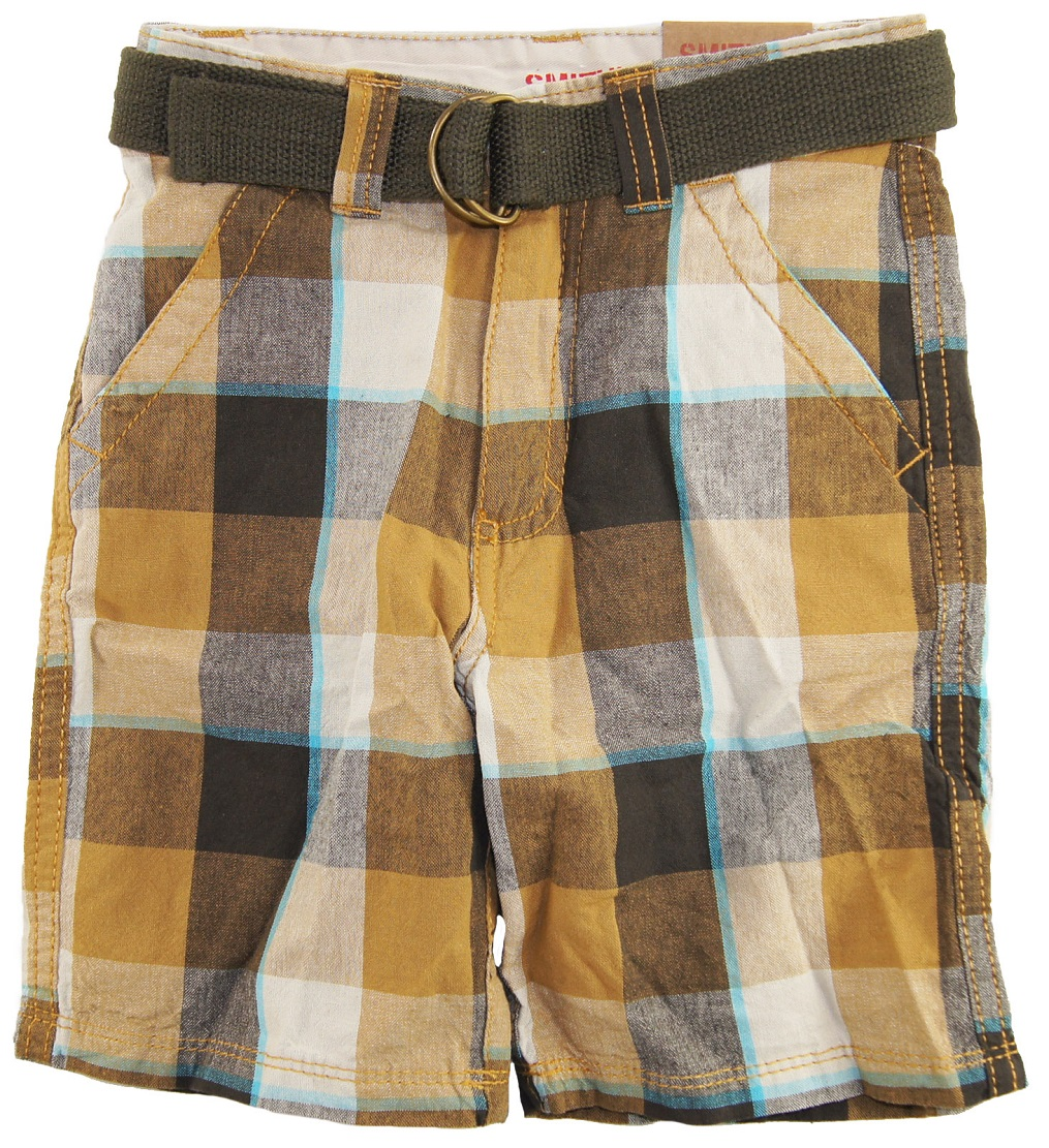 Smith's American Little Boys' Plaid Patchwork Shorts with Belt