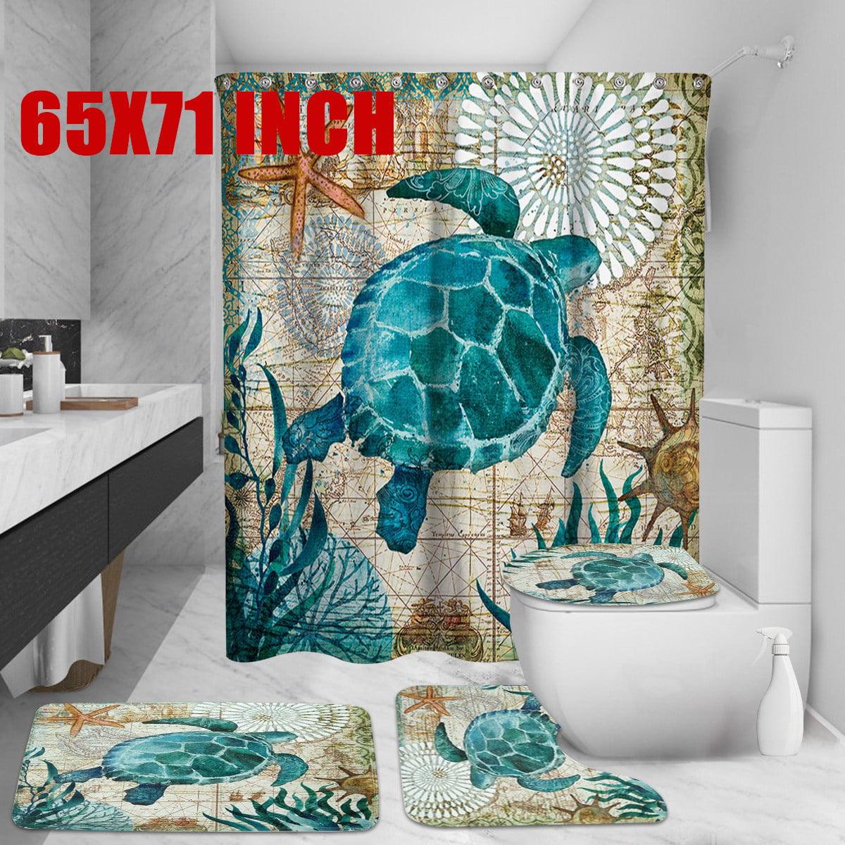 Sea Turtles Waterproof Bathroom Shower Curtain Toilet Cover Mat Non-Slip Rug