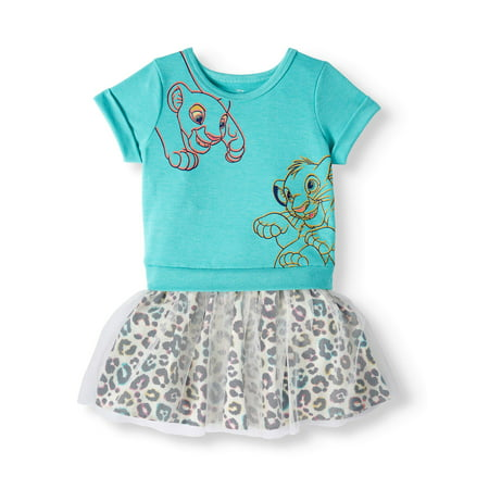 Girls Dresses With Sleeves (The Lion King Short Sleeve Dress with Animal Print Skirt (Toddler)