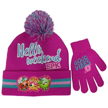 Shopkins Girls Beanie Winter Hat and Glove Set - Size Girls 4-14 [4014] for $<!---->