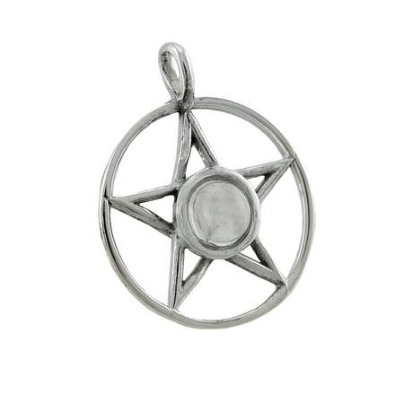 Sterling Silver Pentacle Pendant w/ Moonstone