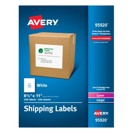 Avery Shipping Address Labels, 250 Labels, Full Sheet Labels, Permanent (95920)