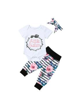 9f07da0e6e4c Product Image Infant Toddler Baby Girl Sister Matching Outfits Short Sleeve  Bodysuit Romper Tops+Flower Long Pants