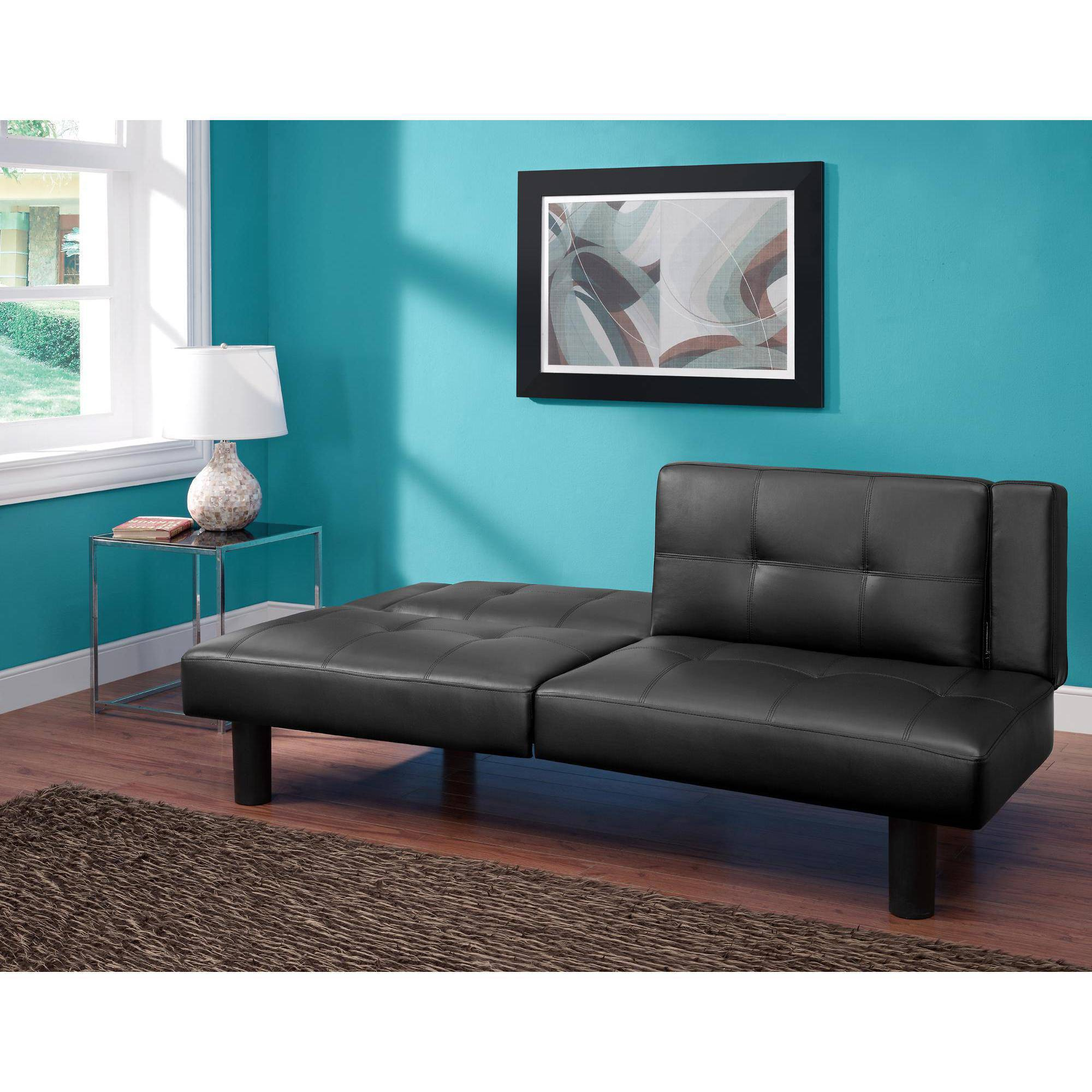 futons futon beds sofa beds  walmartcom - mainstays connectrix faux leather futon multiple colors