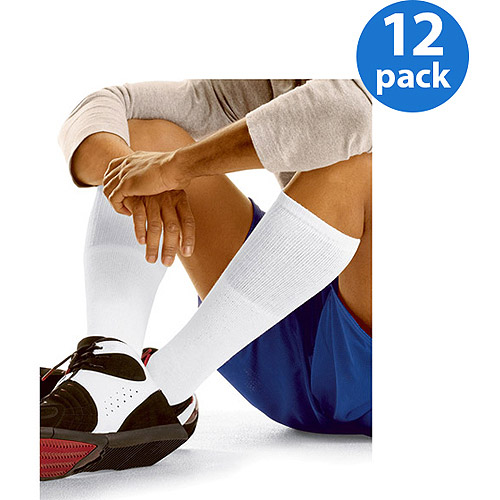 Hanes Men's FreshIQ Comfort Toe Seam Over the Calf Tube Socks 12-Pack