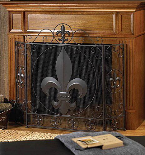 Victorian Style Fleur-de-lis Fireplace Screen Tri-Fold- Black Iron Living Room by