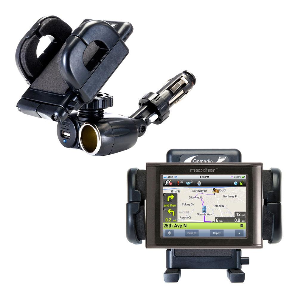 Dual USB / 12V Charger Car Cigarette Lighter Mount and Holder for the Nextar M3 GPS
