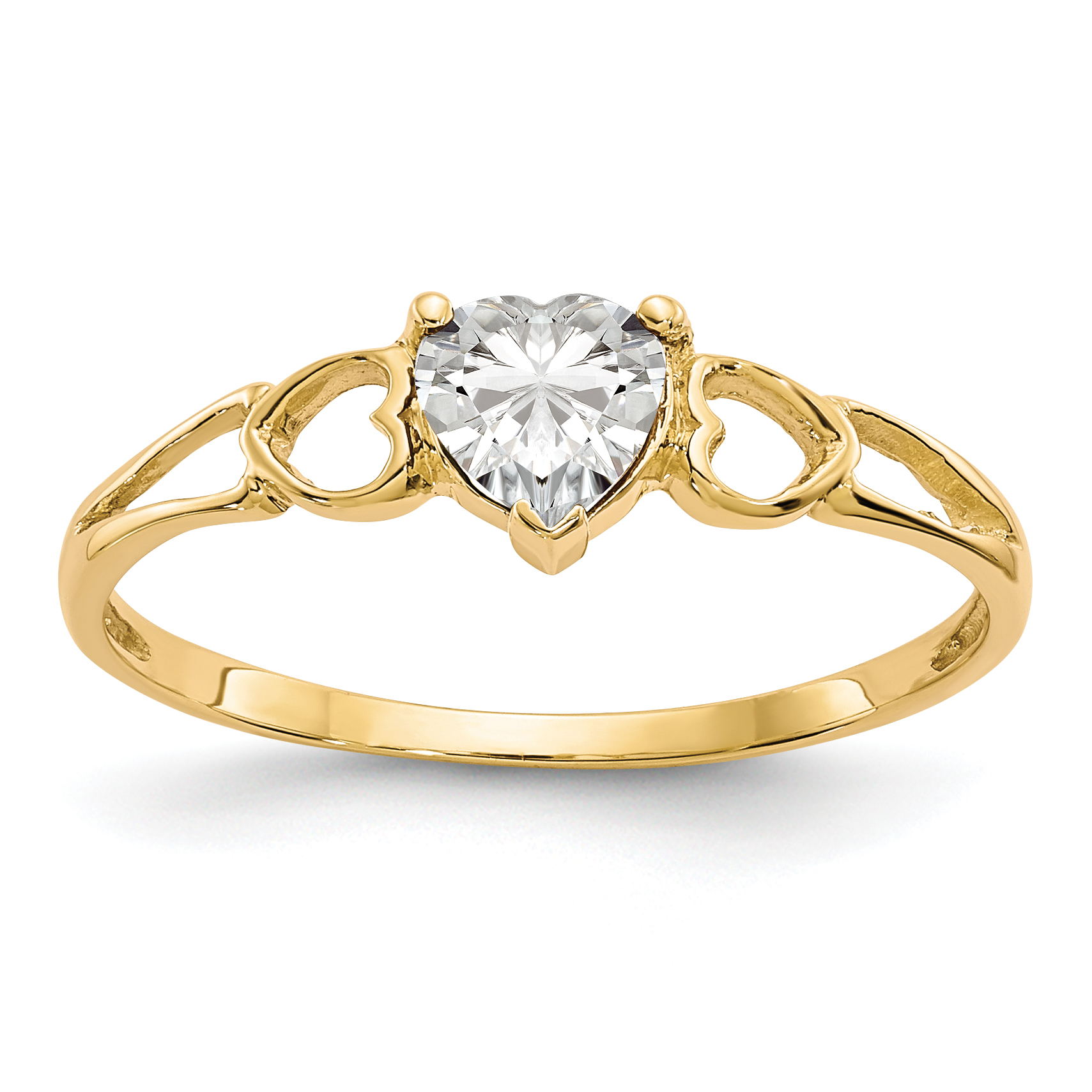 14k Yellow Gold White Topaz Birthstone Band Ring Size 7.00 Stone April Fine Jewelry Gifts For Women For Her - image 2 of 2