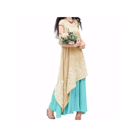 ZANZEA Women's Floral Print Embroidered Asym Sleeveless Long Dress