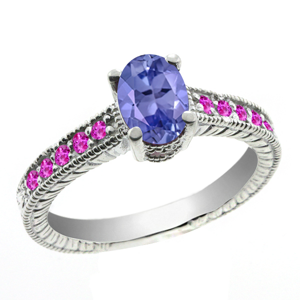 1.25 Ct Oval Blue Tanzanite Pink Sapphire 18K White Gold Ring by