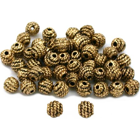 Round Bali Beads Antique Gold Plated Jewelry Approx 50