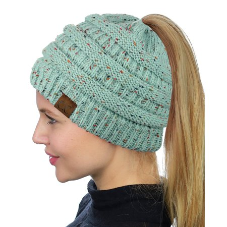 C.C BeanieTail Soft Stretch Cable Knit Messy High Bun Ponytail Beanie Hat, Confetti Mint