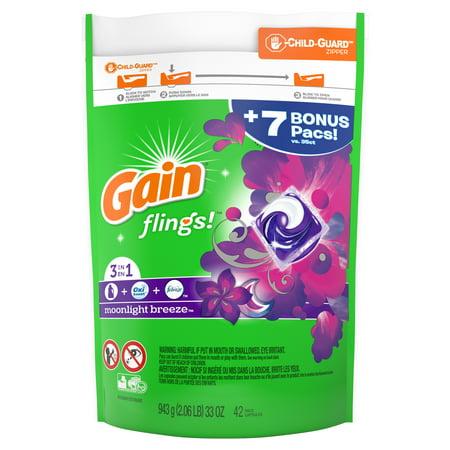 Gain flings! Liquid Laundry Detergent Pacs, Moonlight Breeze, 42