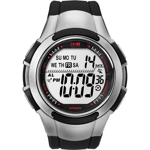 Timex Men's Digital Watch With Black And Silver-tone Resin B
