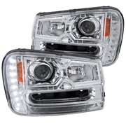 Spec-D Tuning For 2002-2009 Chevy Trail Blazer Smd Led Strip Projector Headlights Chrome/ Clear 2002 2003 2004 2005 2006 2007 2008 2009 (Left+Right)