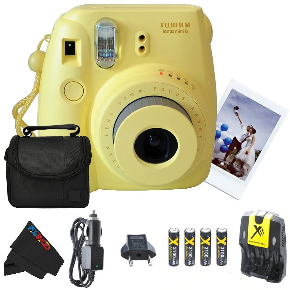Fujifilm Instax Mini 8 Instant Film Camera (Yellow) + 4 AA Ultra High Capacity 3100mah Rechargeable Batteries with AC/DC Travel Turbo Quick Charger + Soft Padded Carry Case + PixiBytes Exclusive Clean