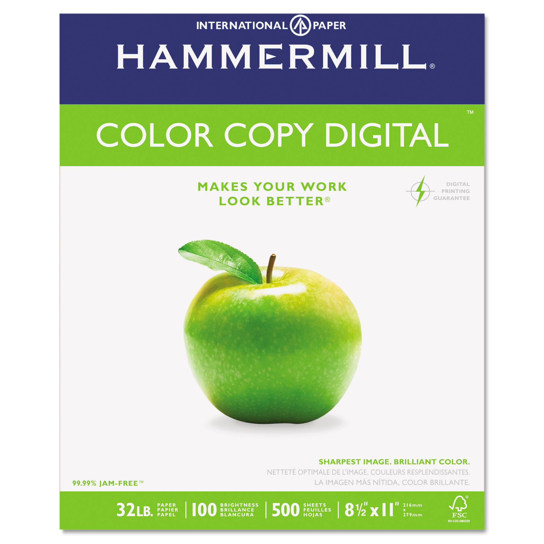 Hammermill Copy Paper, 100 Brightness, 32lb, 8-1/2 x 11, Photo White, 500/Ream