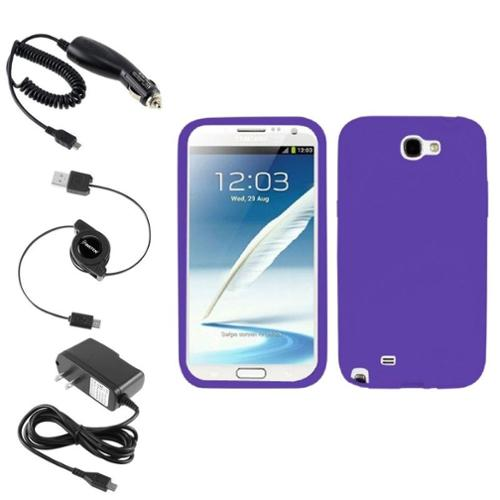 Insten Electric Purple Silicone Case Car Home Charger Cable For Samsung Galaxy Note 2