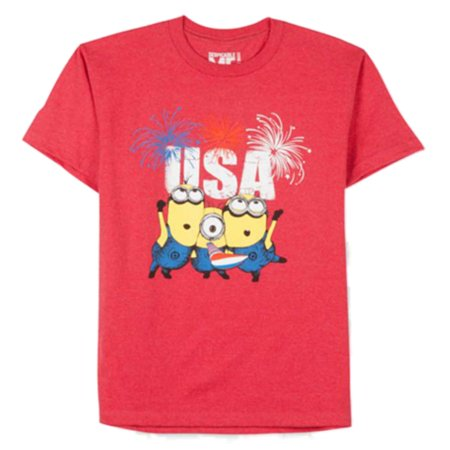 Despicable Me Boys Minion Shirt Patriotic Red USA Fireworks - The Little Girl From Despicable Me
