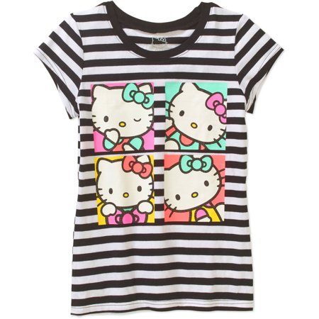 Hello Kitty Girls Licensed Hello Kitty In Boxes Stripe Short Sleeve Graphic T Shirt