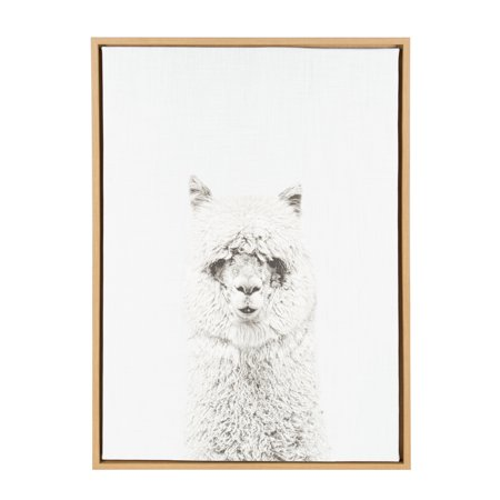 Kate and Laurel - Sylvie Hairy Alpaca Black and White Animal Portrait Framed Canvas Wall Art, Natural 23 x - Natural Canvas