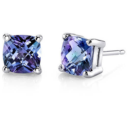 Oravo 2.50 Carat T.G.W. Cushion-Cut Created Alexandrite 14kt White Gold Stud Earrings